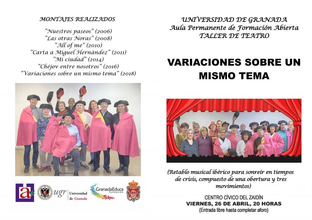 """TEATRO """"Variaciones sobre un mismo tema"""" Taller de Teatro del APFA @ Centro Cívico del Zaidín"""